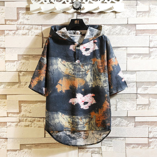Hooded floral t-shirt men's Korean version of loose cotton and linen five-point sleeve Shirts