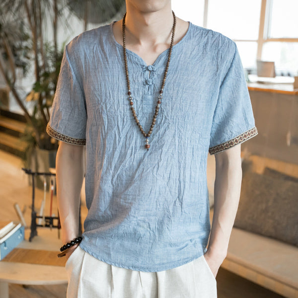 Chinese Style Vintage Cotton Linen T-shirts Thin Large Size Button Short-sleeved Tops