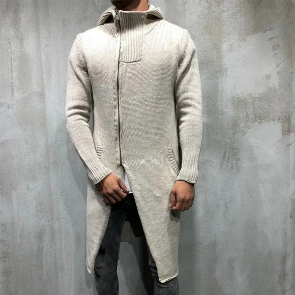 Men's Solid Color Knited Long Hooded Coats