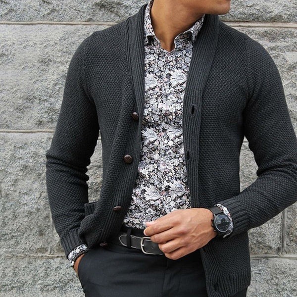 Men's Cardigan Single-Breasted Solid Color Sweaters