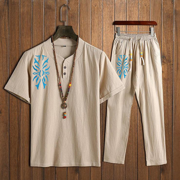 Men's Chinese Style Sets Two Buckle Graphic Short-sleeved T-shirt + Trousers Casual Two-piece