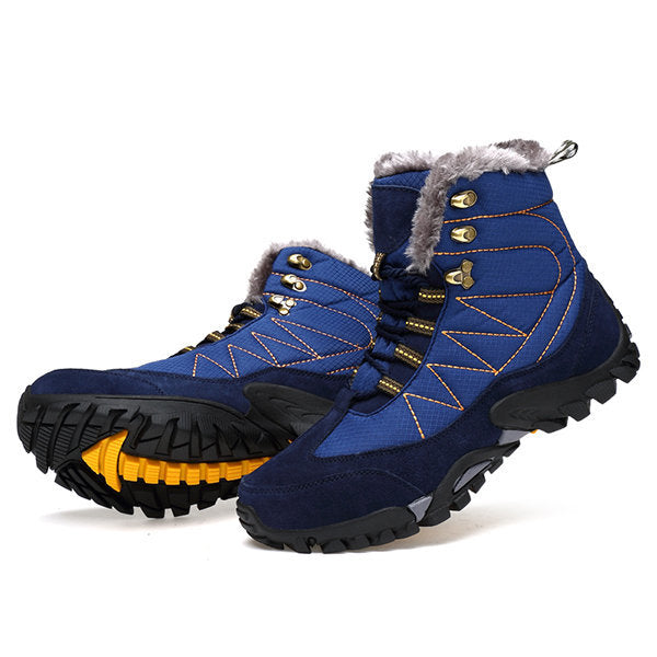 Men Outdoor Waterproof Climbing Shoes Plush Lining Hiking Snow Boots