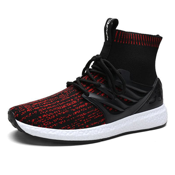 Men's Knitted Fabric High Top Soft Lace Up Casual Sneakers