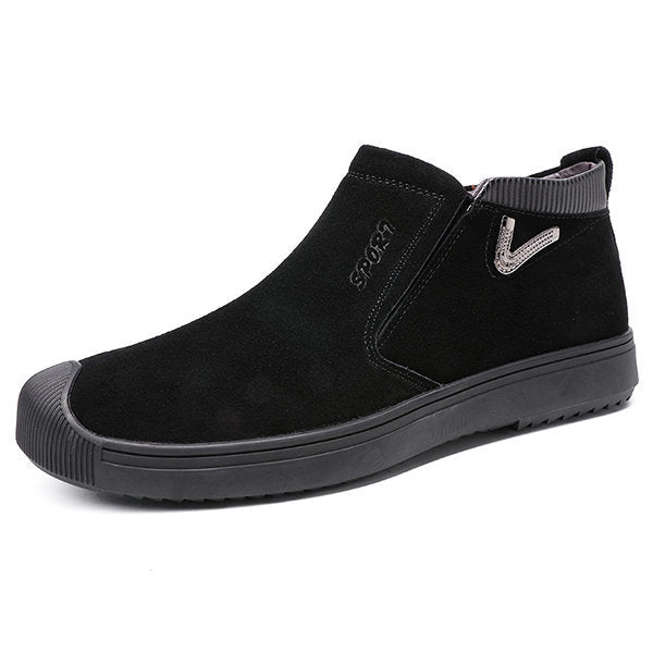 Men Suede Plush Lining Metal Buckle Decoration Casual Boots