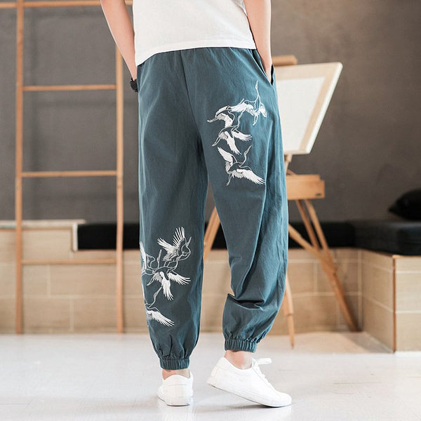 Lantern Beam Foot Pants Chinese Style National Printed Casual Pants