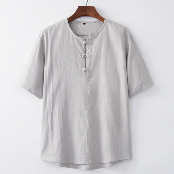 Men's Loose Casual T-shirt Breathable Linen Large Size Short Sleeve Tops
