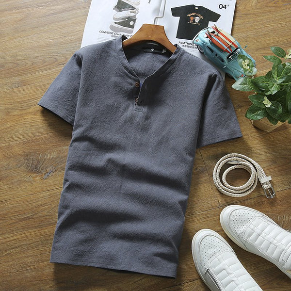 Men's Casual T-shirt Summer V-neck Short-sleeved T-shirt