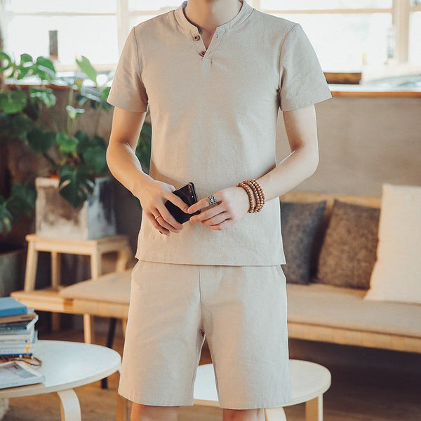 Two Buckle Design Linen Men's Suit Set Casual Breathable Short-sleeved T-shirt Shorts