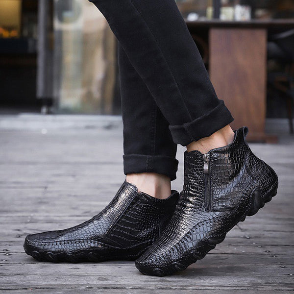 Boots - Crocodile Pattern Zippered Genuine Leather Men's Boots