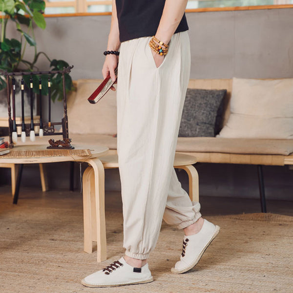 Chinese Style Retro Loose Pants Men's Casual Breathable Trousers