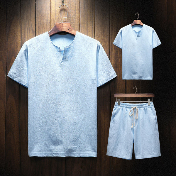 Men's Cotton Linen Casual Two-piece National Style Short-sleeved T-shirt Shorts