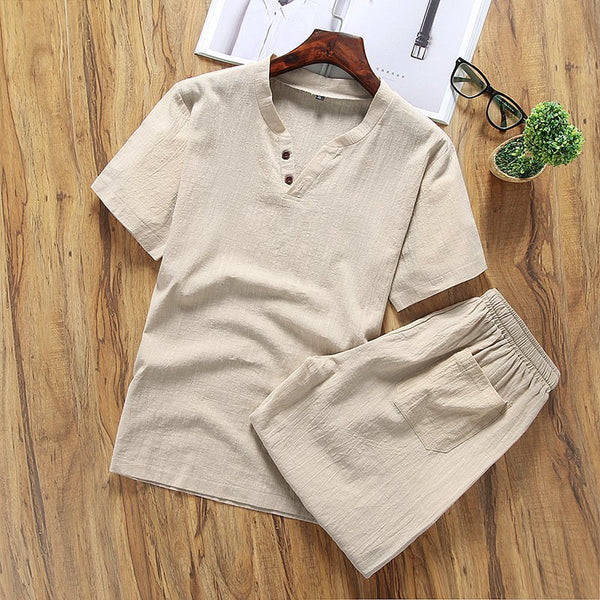 Men's Solid Color V-neck Half-sleeved T-shirt Shorts Breathable Cotton Suit Sets
