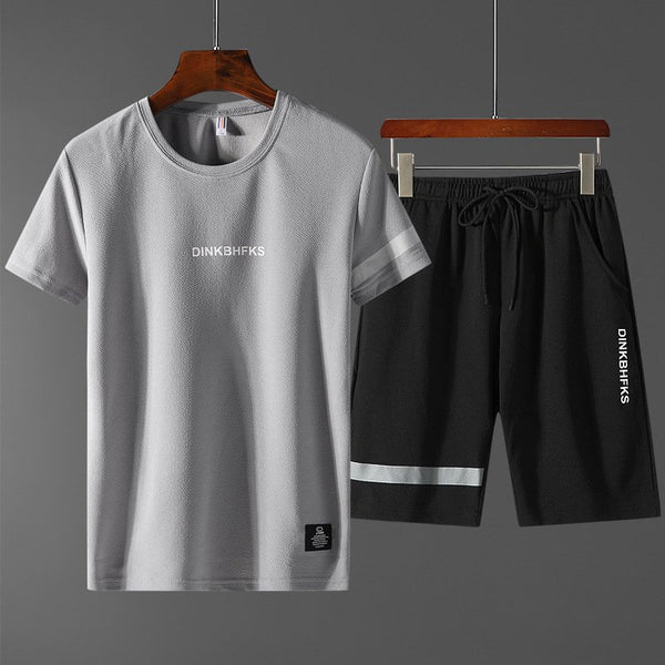 Men's Casual Sports Wrinkle Round Neck T-shirts Shorts Sets