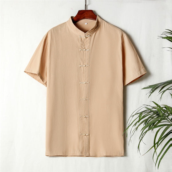Chinese Style Tang Suit Men's Short-sleeved Stand Collar Buckle Shirt