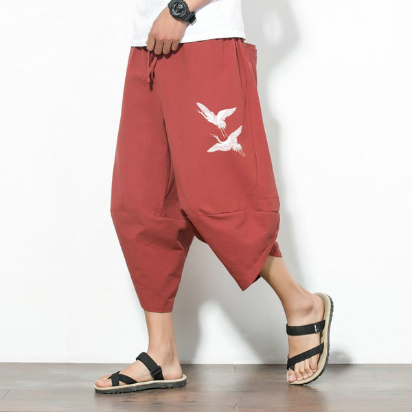 Lantern Pants Chinese Style Fairy Crane Embroidery Loose Cropped Trousers