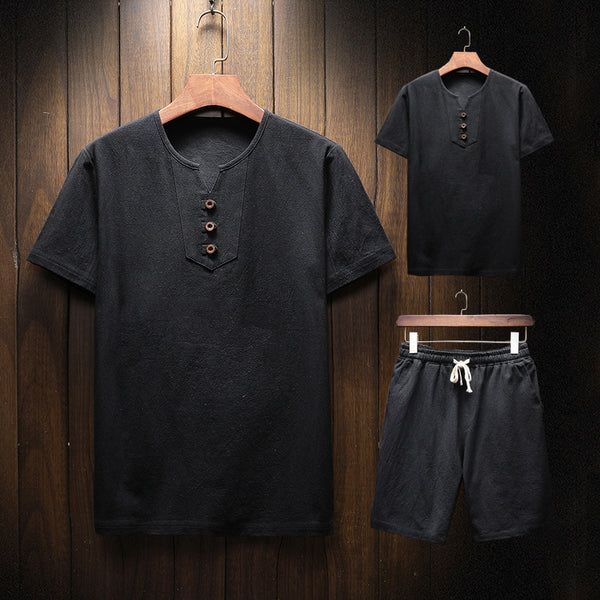 Men's Cotton Linen Casual Two-piece Sets Loose Short-sleeved T-shirt Shorts