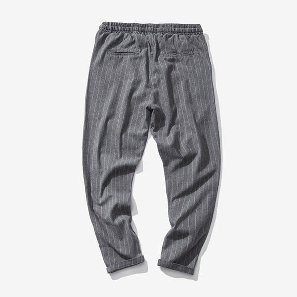 Men's Casual Striped Pants Breathable Linen Trousers