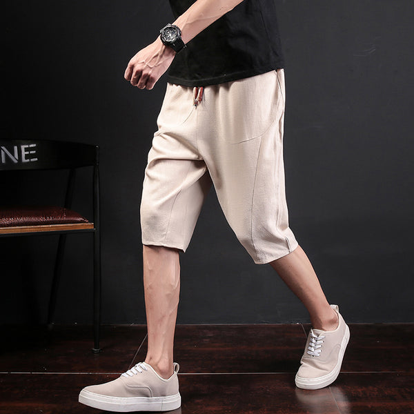 Chinese Style Cropped Shorts Men's Loose Buckle Casual Shorts