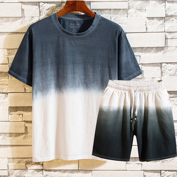 Gradient Shorts Short Sleeve T-shirts Men's Sports Leisure Two-pieces Sets