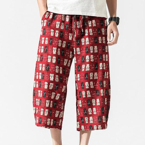 Men's Linen Cropped Pants Chinese Style Loose Lanterns Beach Casual Shorts