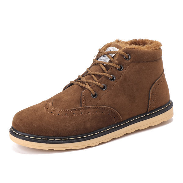 Men Lace Up Plush Lining Artificial Suede Casual Boots
