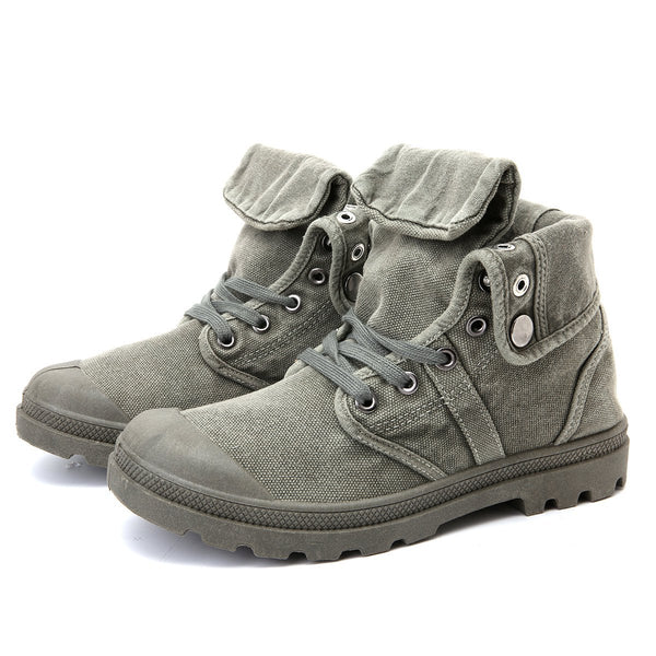 Men High Top Canvas Lace Up Mid-calf Boots