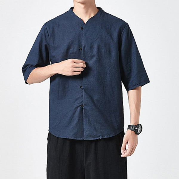 Men's Breathable Vintage Cotton Linen Short-sleeved Shirts