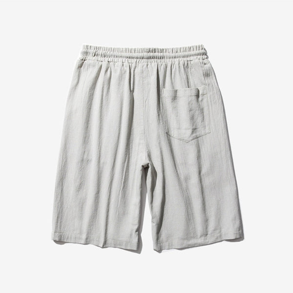 Men's Breathable Cotton Linen Casual Shorts Loose Sports Beach Shorts