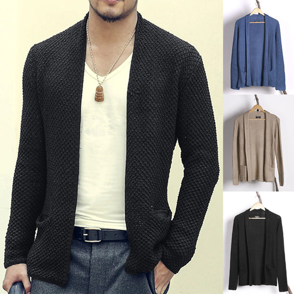 Men's Solid Color Long Cardigan Sweaters