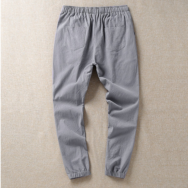 Men's Casual Breathable Cotton Linen Nine Pants
