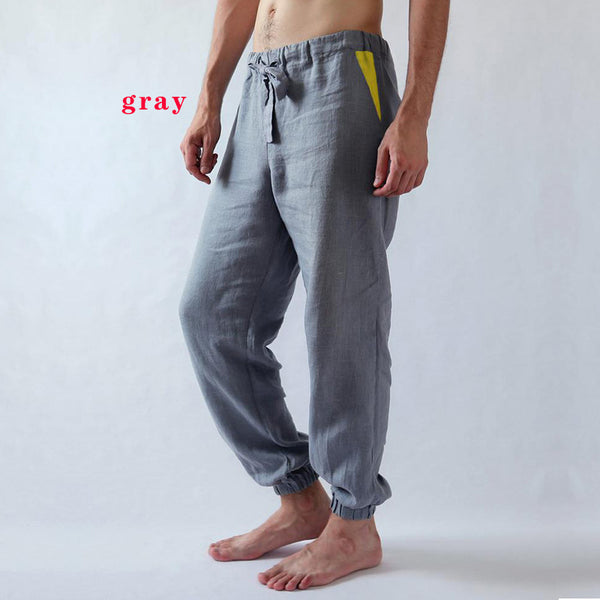 Fashion Hit color Men's Trousers Washed Cotton Feet Pants Breathable Casual Sweatpants