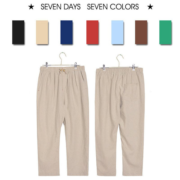 Men's Breathable Cotton Linen Cropped Trousers Casual Beach Pants
