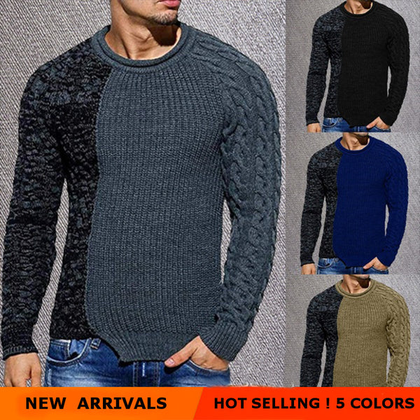 Men's Low Round Collar Casual Color-block Sweater