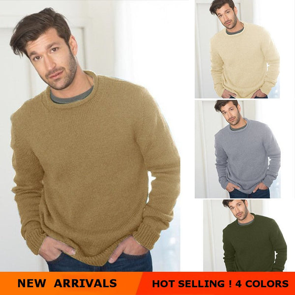 Men's Loose Solid Color Round Neck Sweaters