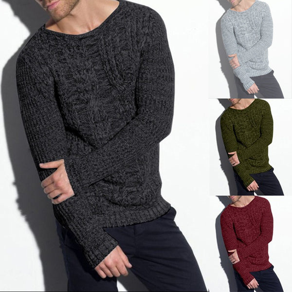 Men's Solid Color Round Collar Loose Sweater