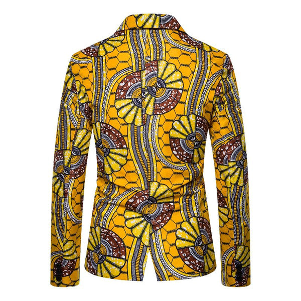 As Picture Printed Lapel Tribal Statement Outerwear
