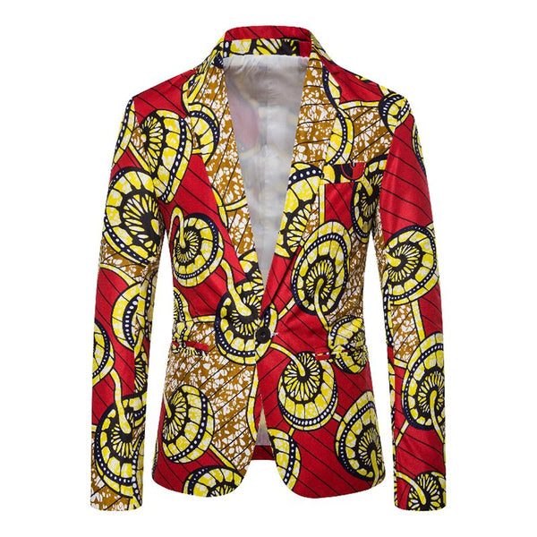 Men's Fashion Ethnic Style Printed Single-breasted Casual Suit