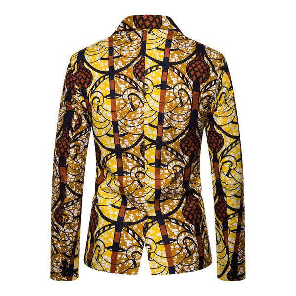 As Picture Lapel Abstract Statement Printed Outerwear