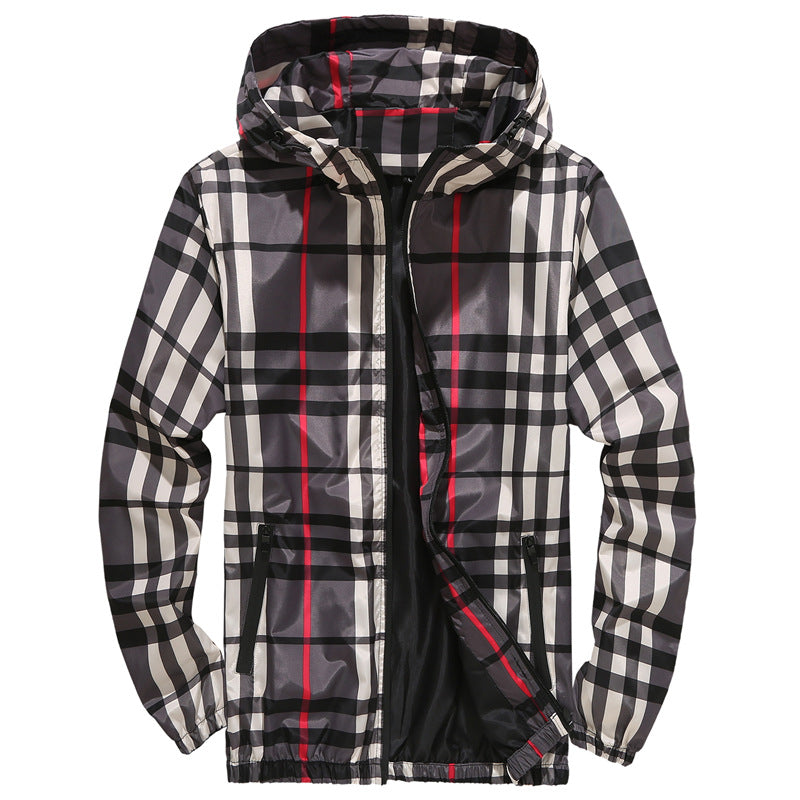Men's Fashion Hooded Plaid Casual Jacket