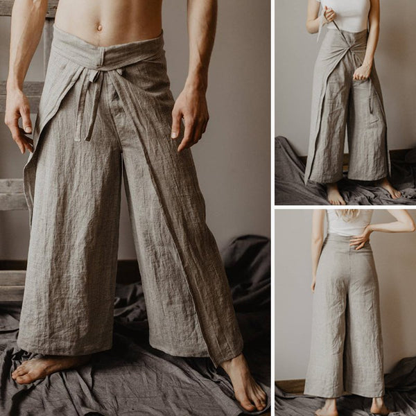 Men's Casual Pure Color Cotton Linen Flare Pants