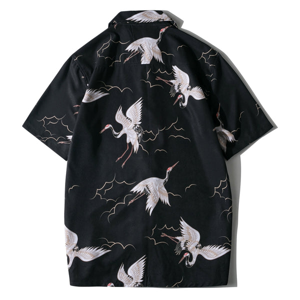 Black Casual Printed Stand Collar Floral Men Clothes