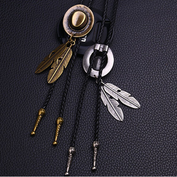 Vintage Cowboy Hat Jazz Hat Alloy Feather Necklace Unisex Leather Rope Long Necklace Chain