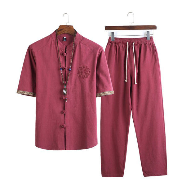 Chinese Style Cotton Linen Two-piece Men's Buckle Collar Shirts Trousers