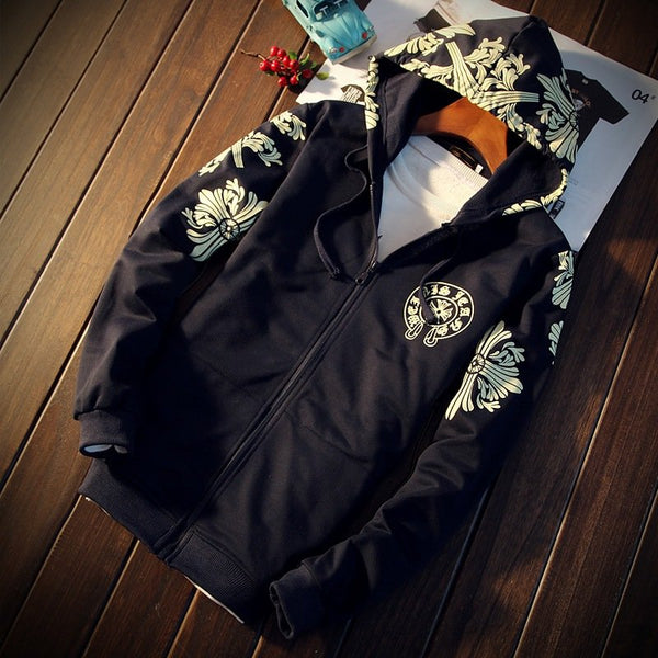 Fashion printing men's cardigan hooded jacket Sportswear