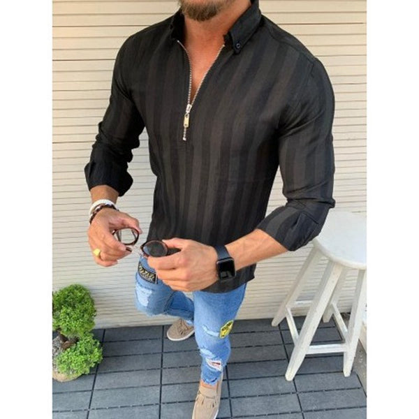 Men's Solid Color Long Sleeve Lapel Casual Shirts