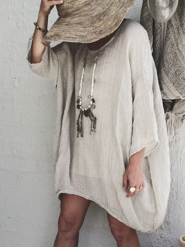 3/4 Sleeve Round Neck Casual Linen Tops