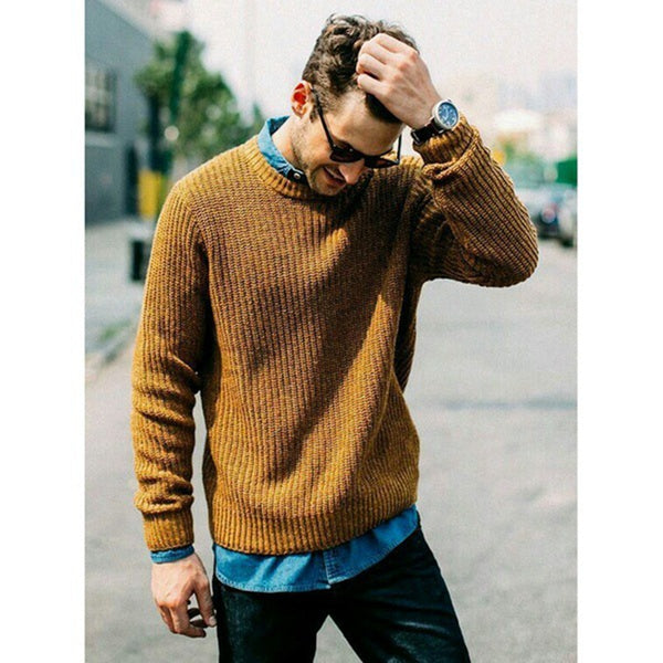 Men's Solid Color Round Collar Knitted Sweater 9 Colors