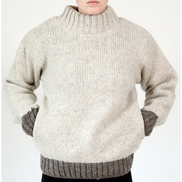 Men's Solid Color Pullover Loose Knitted Turtleneck Sweaters