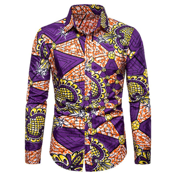 Fashion Ethnic Style Printed Men's Long Sleeve Shirts