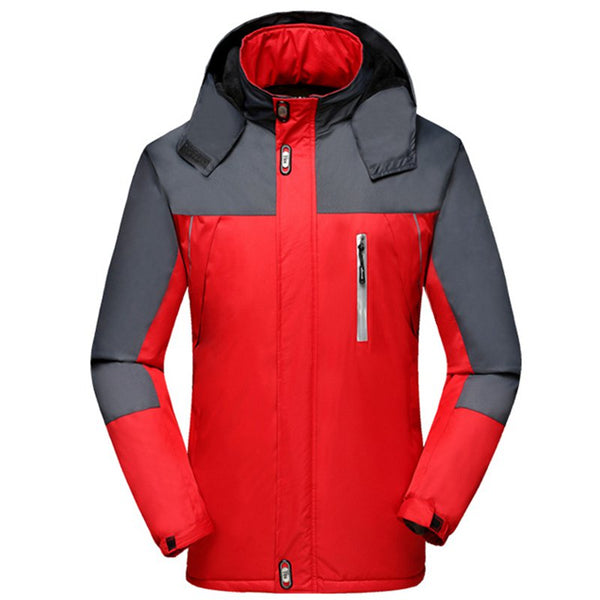 Men's Reflective Strip Outdoor Jacket Thicken Hooded Windwear